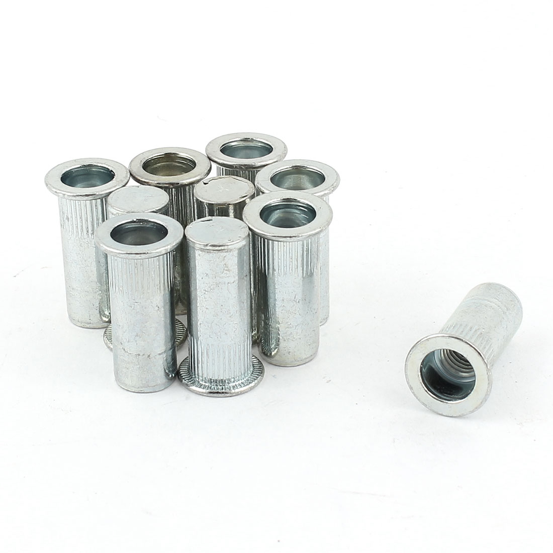 10pcs Knurled Metal Rivet Nuts Flat Head Inserts Nutserts Fasteners M8x26mm