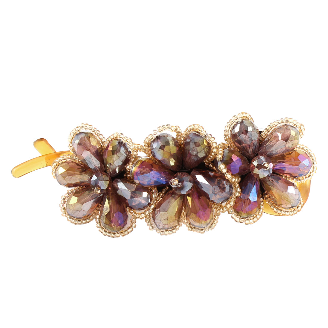 Lady Hairstyle Purple Crystal Flower Shaped Brown Banana Barrette Hairpin Hair Clips Clasp Decoration