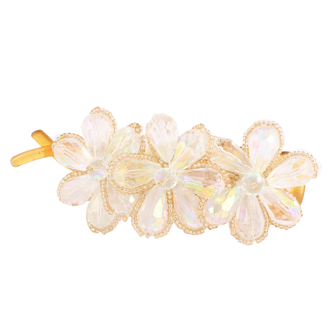 Lady Hairstyle White Crystal Flower Shaped Banana Barrette Hairpin Hair Clips Clasp Beauty Makeup Tool