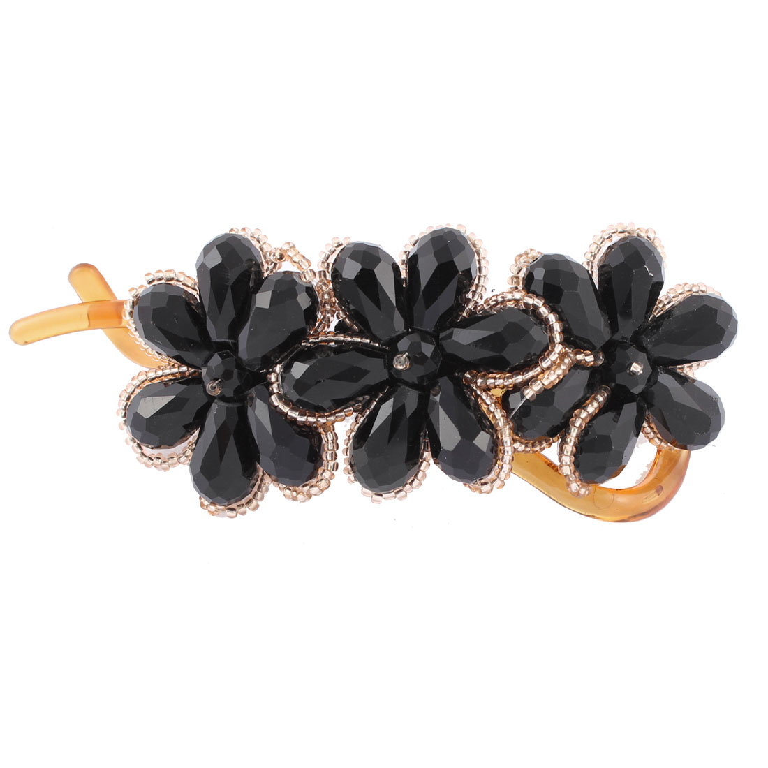 Lady Black Crystal Flower Design Banana Hair Clip Claw Comb Clasp Hairpins Helper