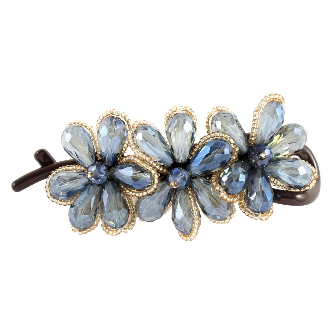 Blue Crystal Flower Shaped Banana Hair Clip Claw Clasp Pin Barrette Hairpin for Women