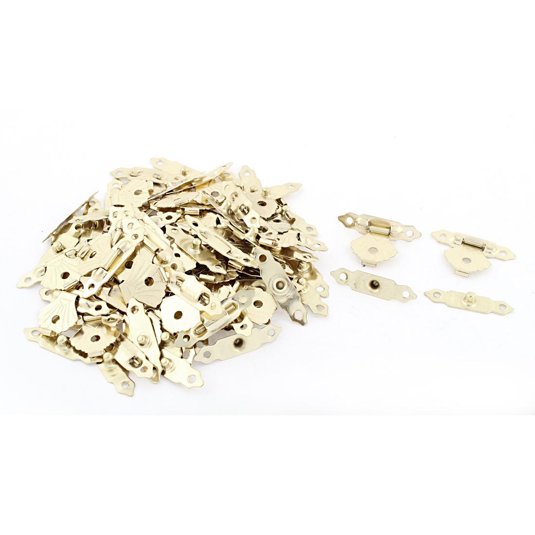 Jewelry Case Gold Tone Flower Box Latch Catch Decoration 50 Pcs