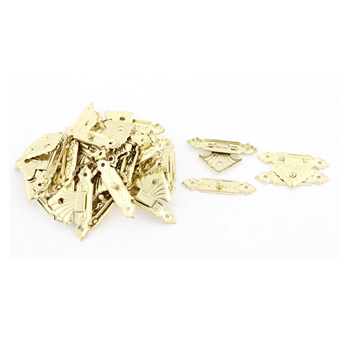 Jewelry Case Gold Tone Metal Decorative Box Latch Catch 20 Pcs