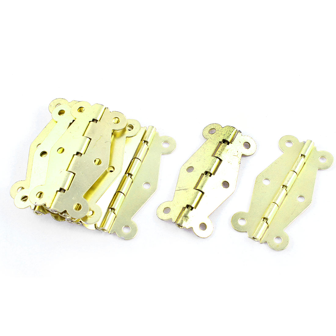 Window Cupboard Gold Tone Rotatable Door Hinges Hardware 10 Pcs