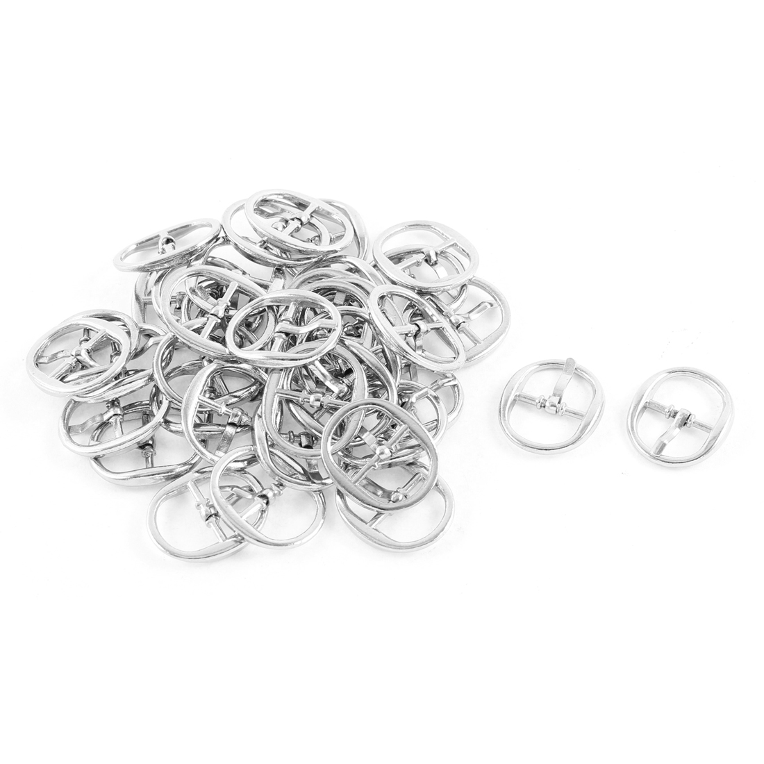 40 Pcs Silver Tone Metal Single Prong Pin Oval Shoes Clip Buckles
