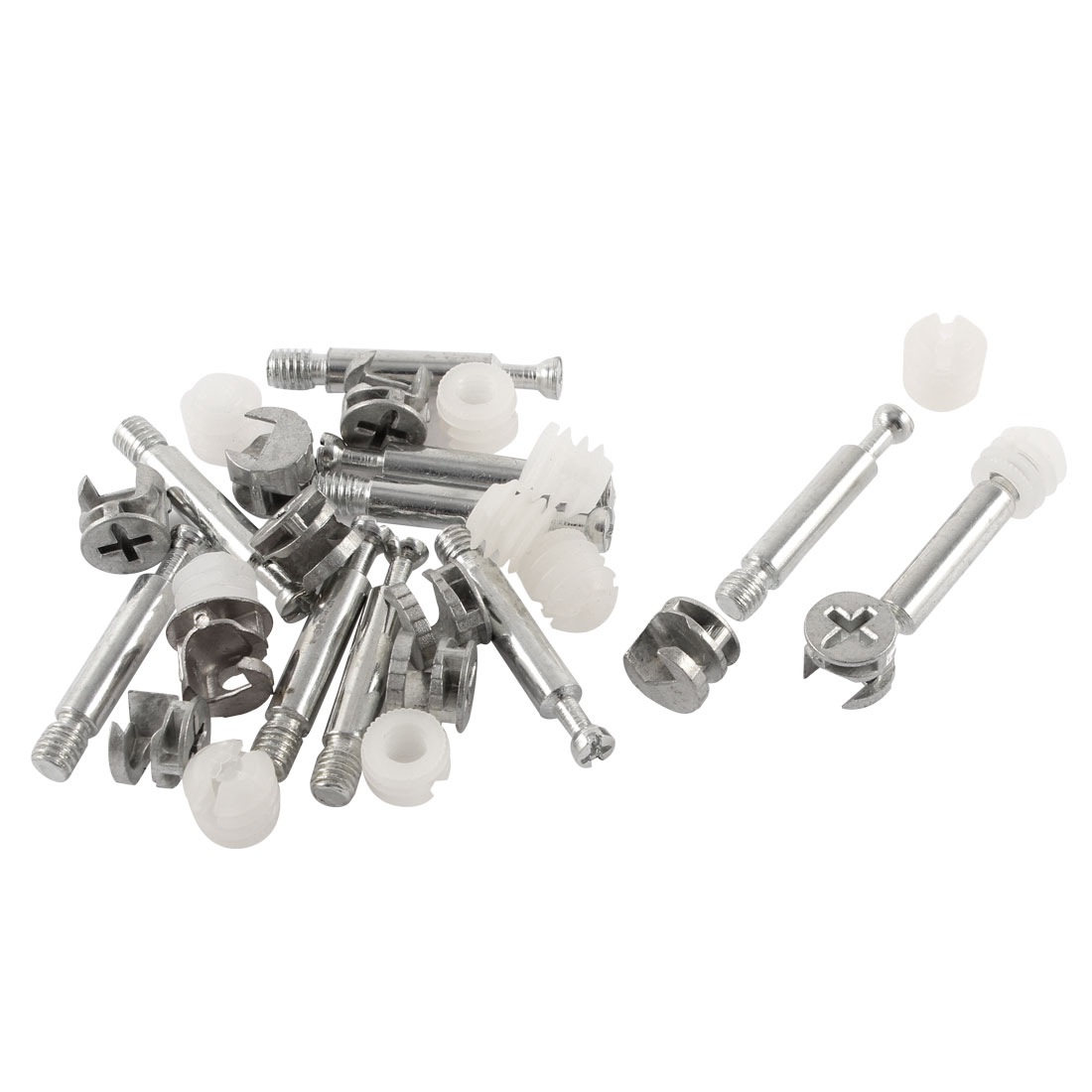 10 Sets Connector Furniture Side Cam Fittings + Dowel + Pre-inserted Nut