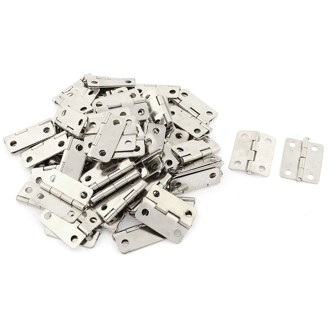 Showcase Silver Tone 4 Screw Holes Rotatable Folding Door Hinges 76 Pcs
