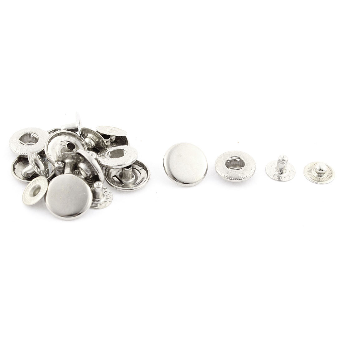 6 Sets Silver Tone Stars Carved Tailor Sewing Press Stud Button 15mm
