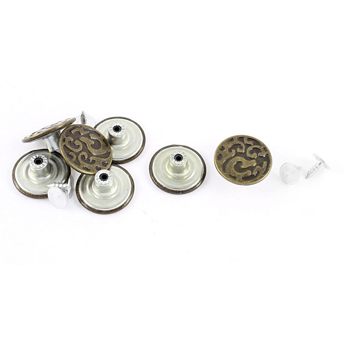 7 Pcs Bronze Tone Retro Style Unisex Jean Buttons 20 x 8mm w Tacks