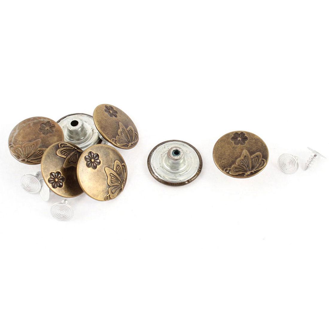 7 Pcs Copper Tone Butterfly Flower Pattern Jacket Jean Buttons 20 x 8mm w Tacks