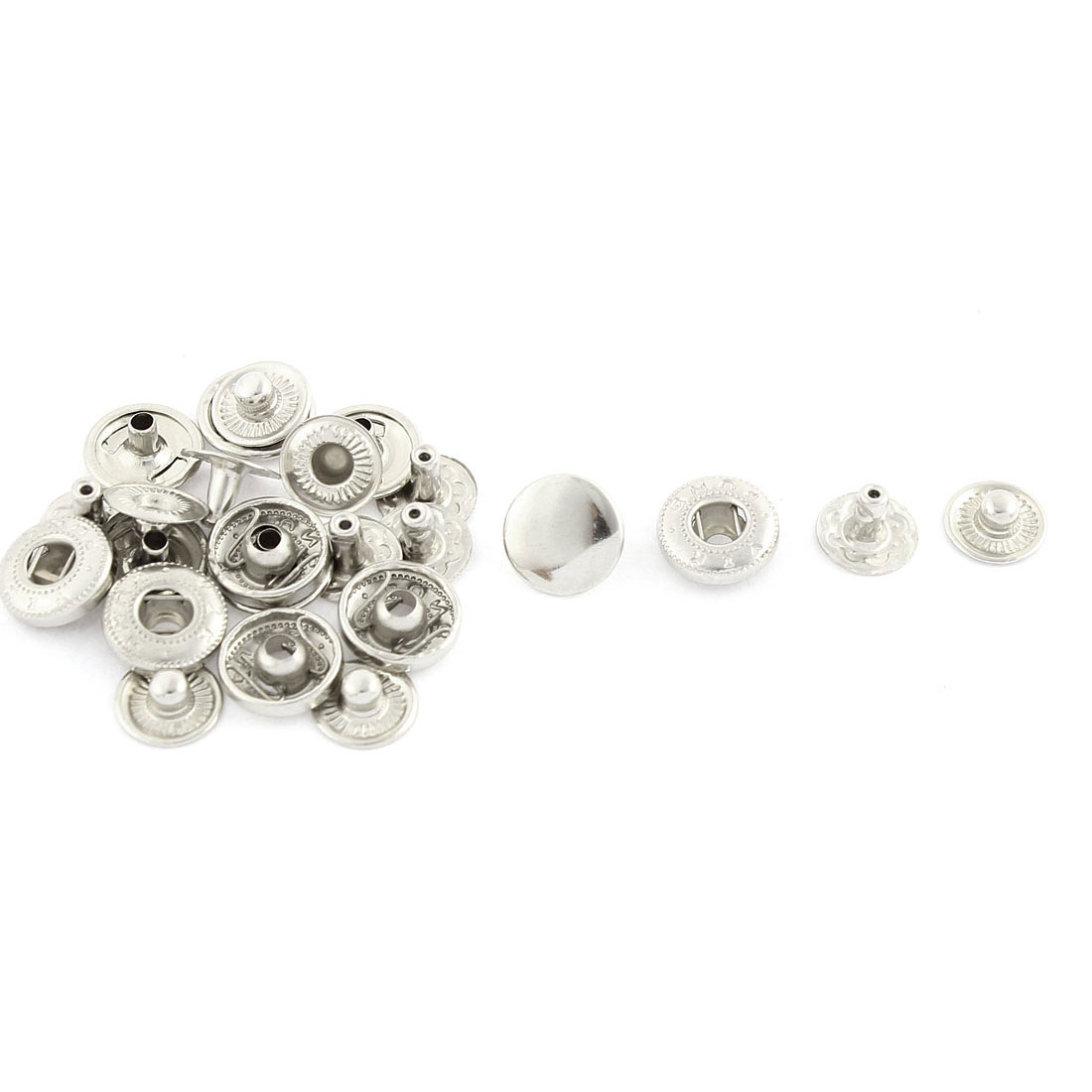 6 Sets Silver Tone Clothing Leather Craft Press Stud Button Fastener 10mm