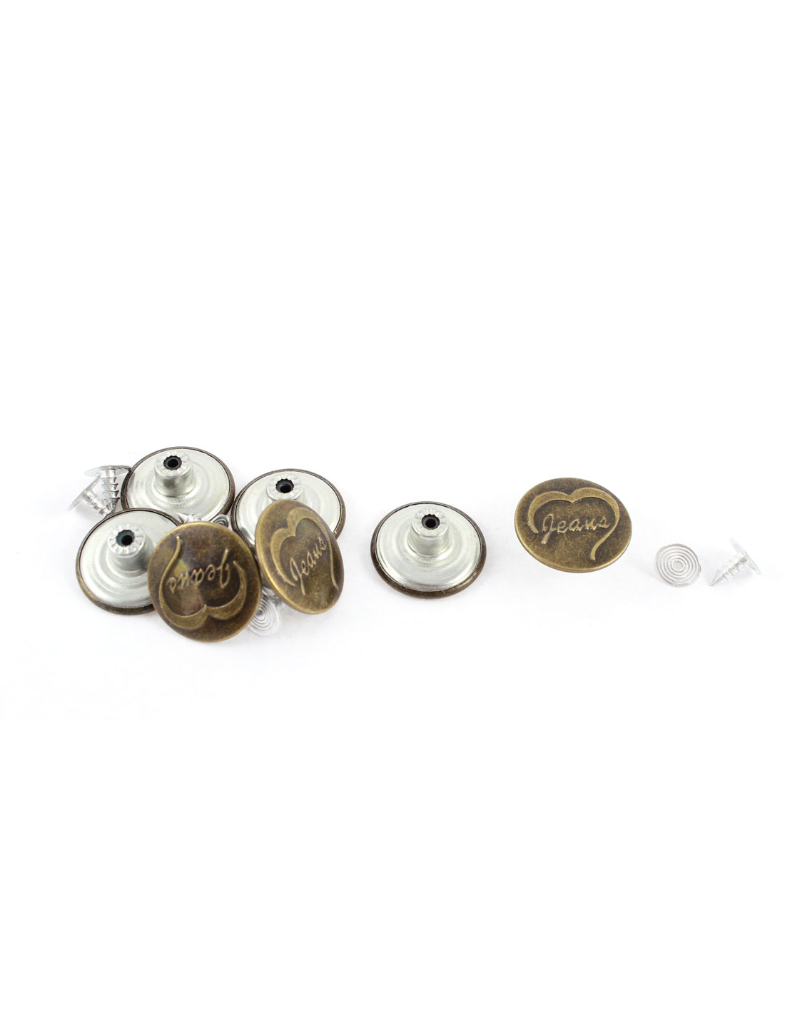 7 Pcs Metal Jacket Vintage Style Heart Printed Round Jean Buttons 20 x 8mm