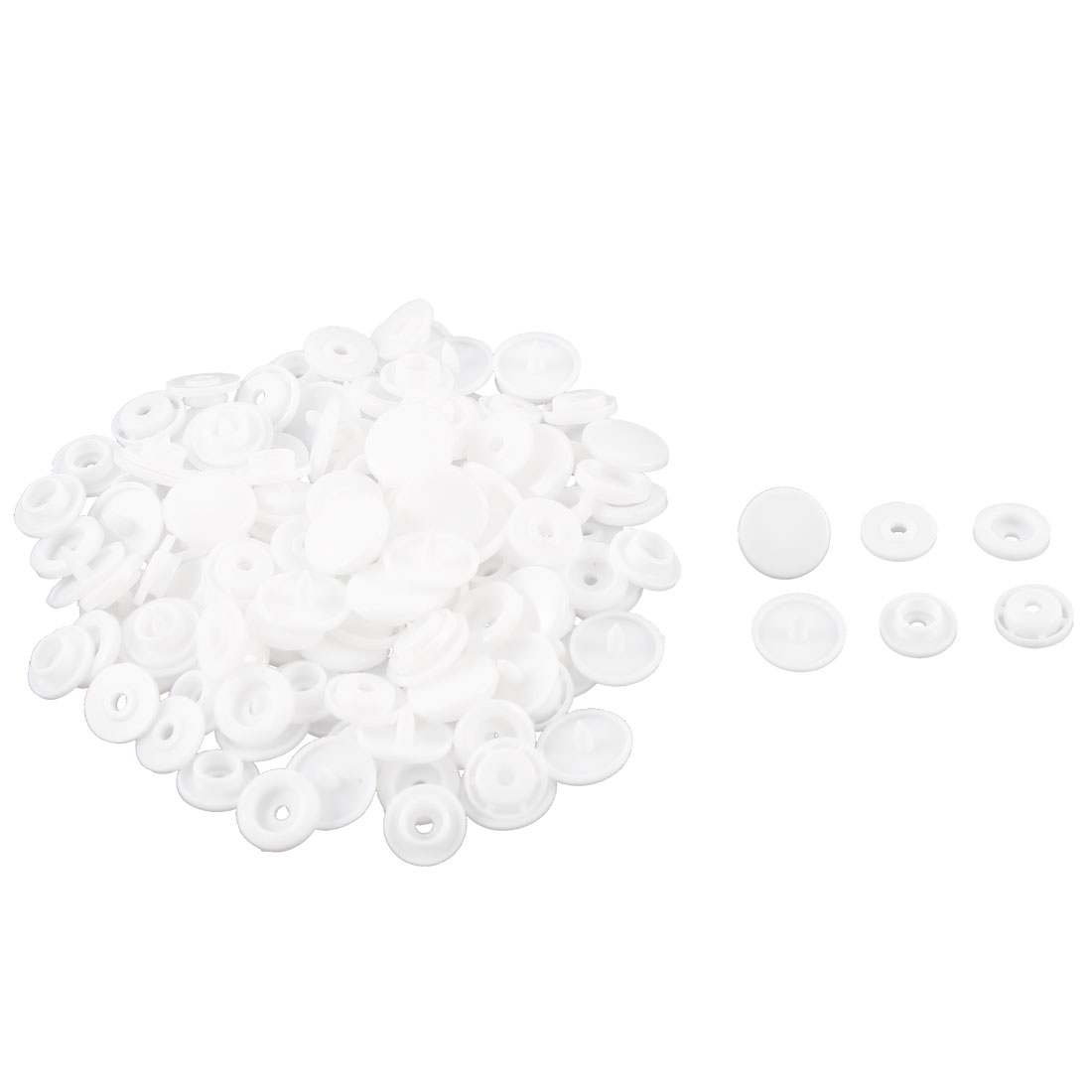 50 Pcs White Sewing Poppers Snap Press Fastener Buttons 1.2cm Diameter