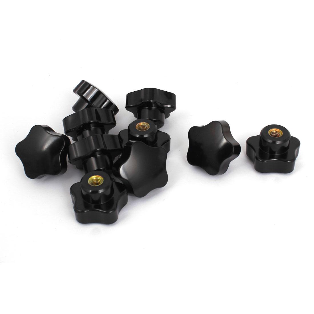 38mm Dia Star Head M8 Female Thread Nuts Clamping Knob Grip Black 10pcs