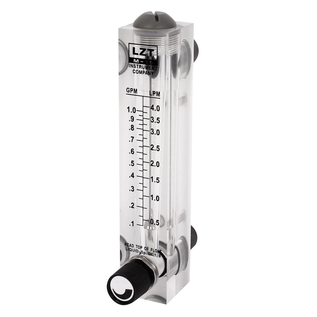 LZT M-15 1/2BSP 21mm Thread Water Liquid Flow Measuring Panel Type Flowmeter