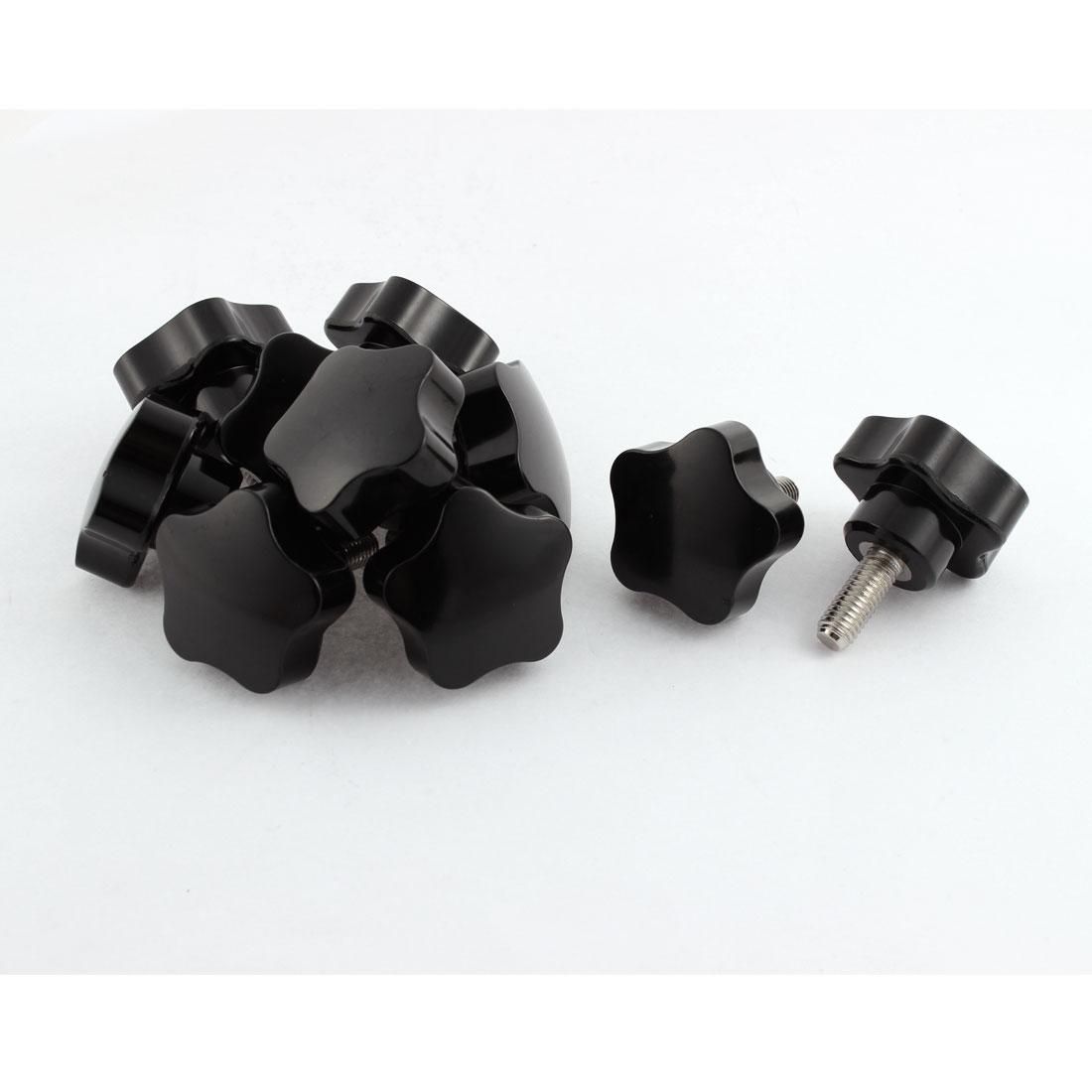 10pcs 40mm Plastic Star Head M8x20mm Male Thread Screw on Clamping Knob Grips