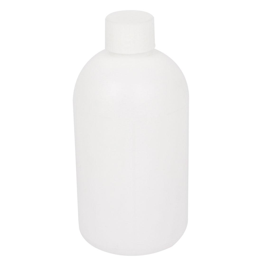 Graduated 500ml Plastic Bottle HDPE White Watertight Screw-Top Lid w Inner Cap