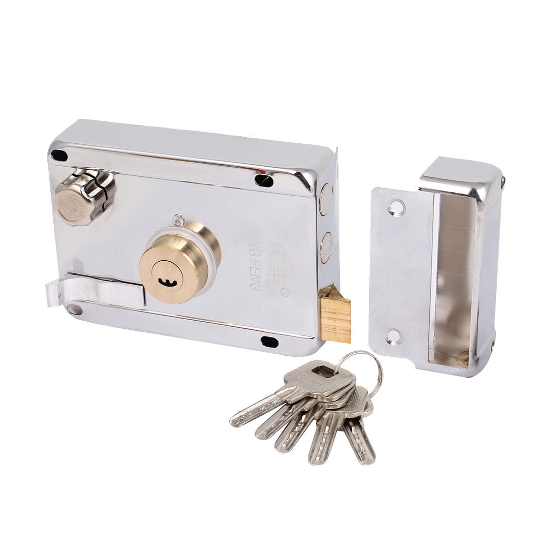 Door Gate Right Hand Cylinder Deadbolt Spring Latch Safety Rim Lock Lockset