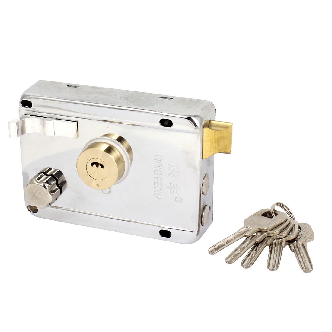 Door Gate Dual Cylinder Deadbolt Spring Latch Rim Lock 12cm x 8.5cm w 5 Keys