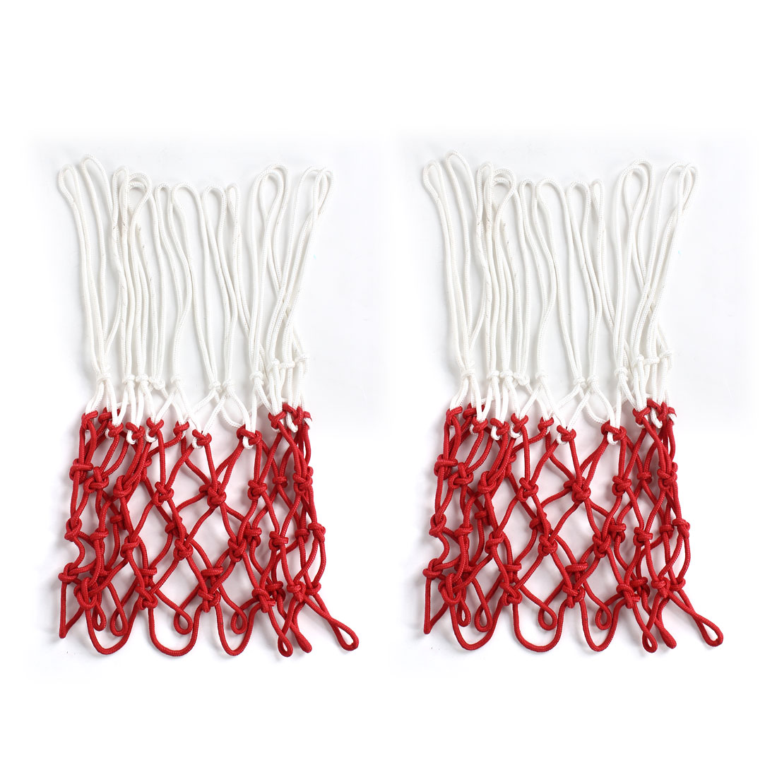 Indoor Outdoor All Weather White Red 13 Loops Nylon Basketball Net 2pcs