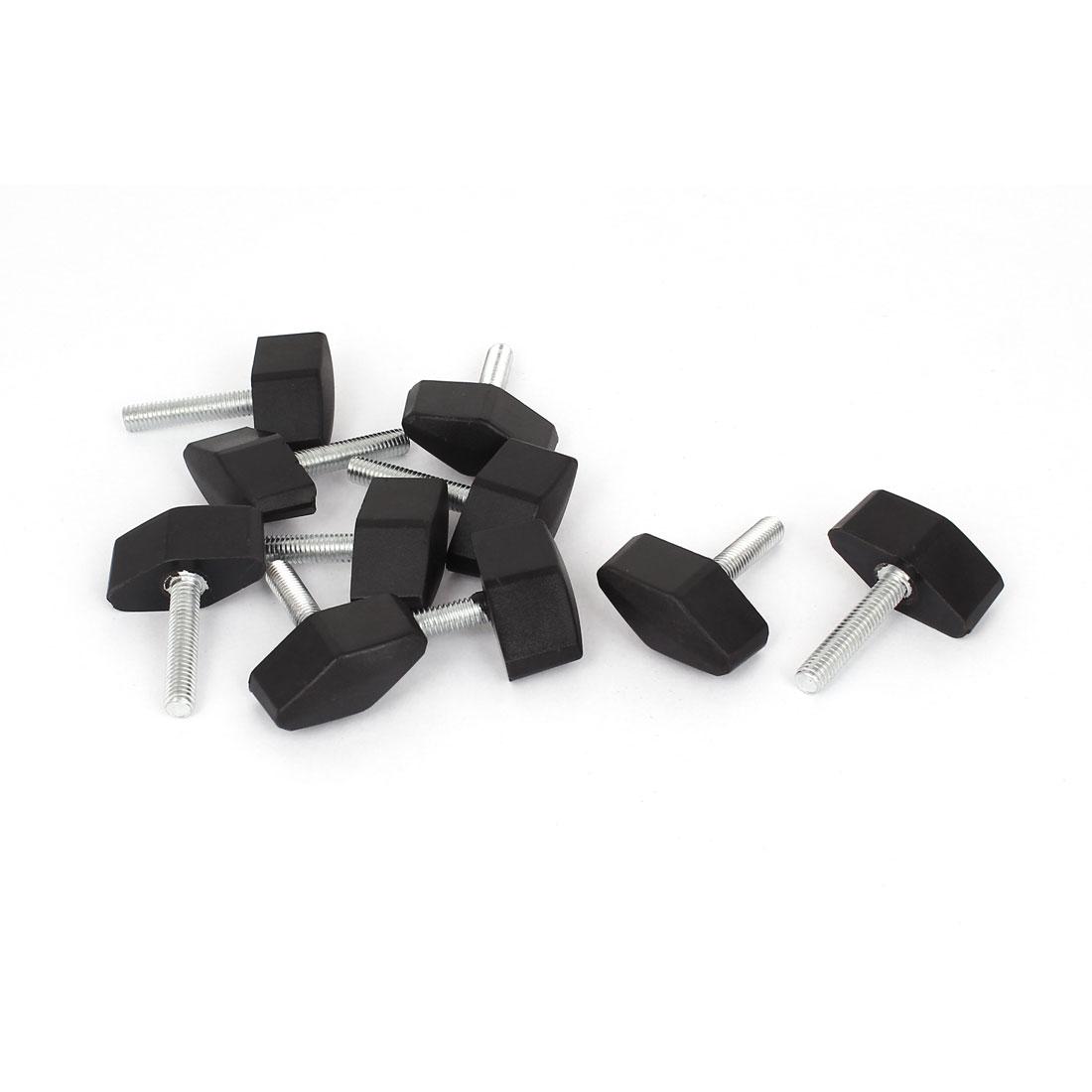 M6 x 30mm Thread Screw Rotating Adjustable Clamping Handle Knob 10 Pcs