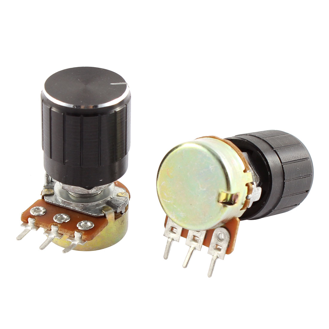 2pcs 10K OHM Single Linear Type B Audio Taper Rotary Potentiometer B10K w Knobs