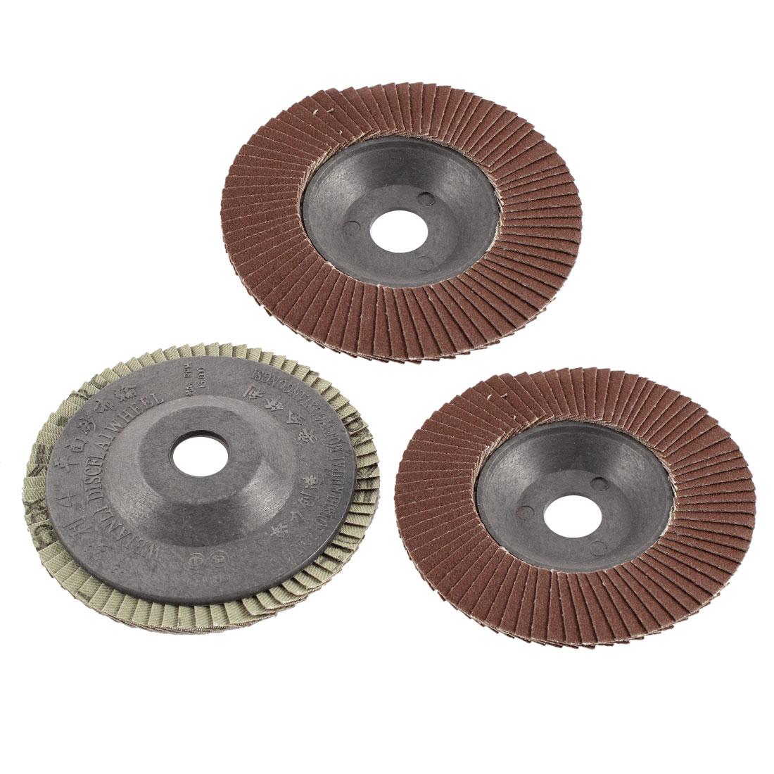 "3pcs 4"" x 5/8"" Zirconium Oxide Flap Sanding Discs Polish Grinding Wheel 320 Grit"