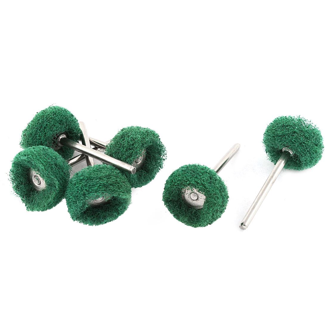 Green Fiber Satin Finish Buffing Polishing Brush Wheels Jewelry Rotary Tool 6pcs