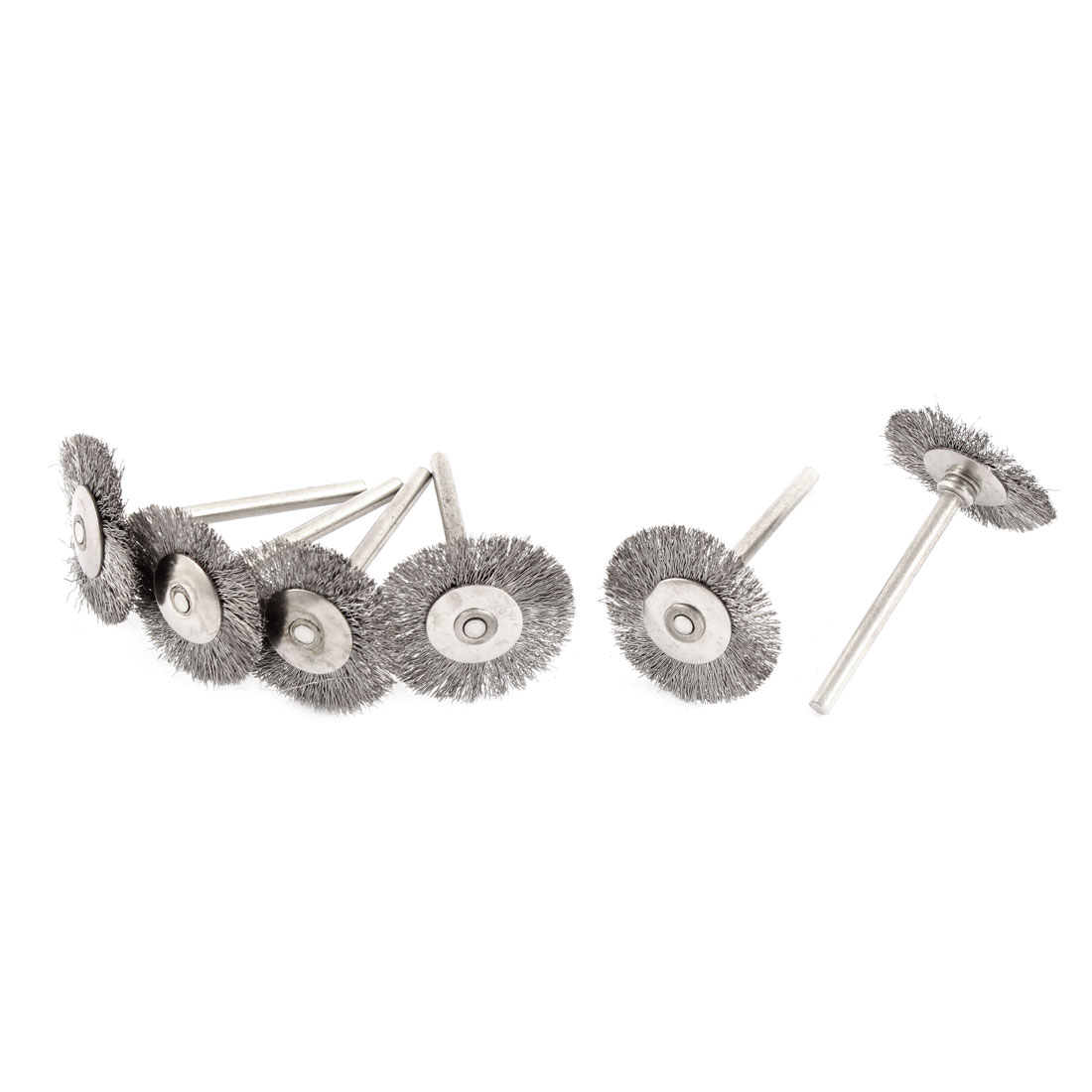 "Rotary 1"" Steel Wire Jewelry Buffing Polishing Wheels Brushes Silver Tone 6pcs"