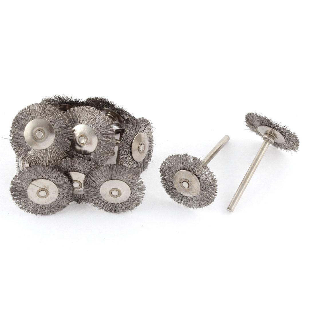 """Rotary 1"""" Steel Wire Jewelry Buffing Polishing Wheels Brushes Silver Tone 12pcs"""