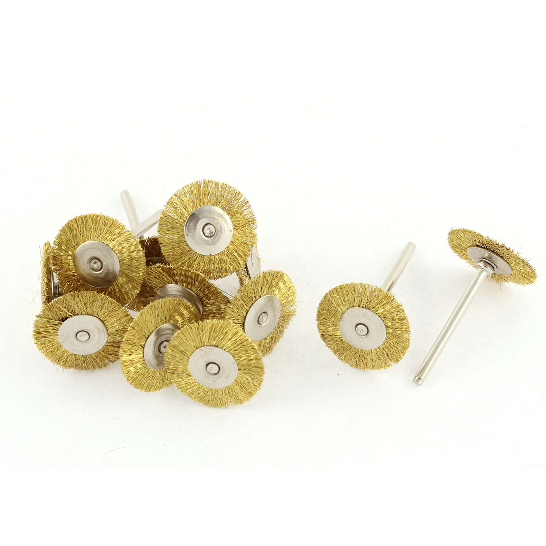 """Rotary 1"""" Gold Tone Steel Wire Jewelry Buffing Polishing Wheels Brushes 12pcs"""