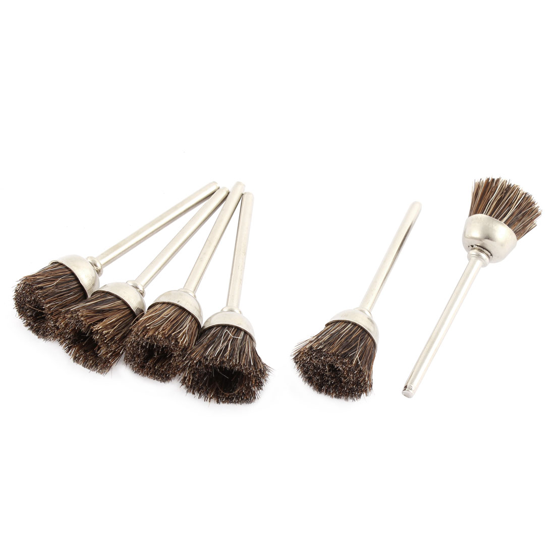 Brown Nylon Bristle Polishing Brushes Jewelry Cleaning Buffing Tools 6pcs