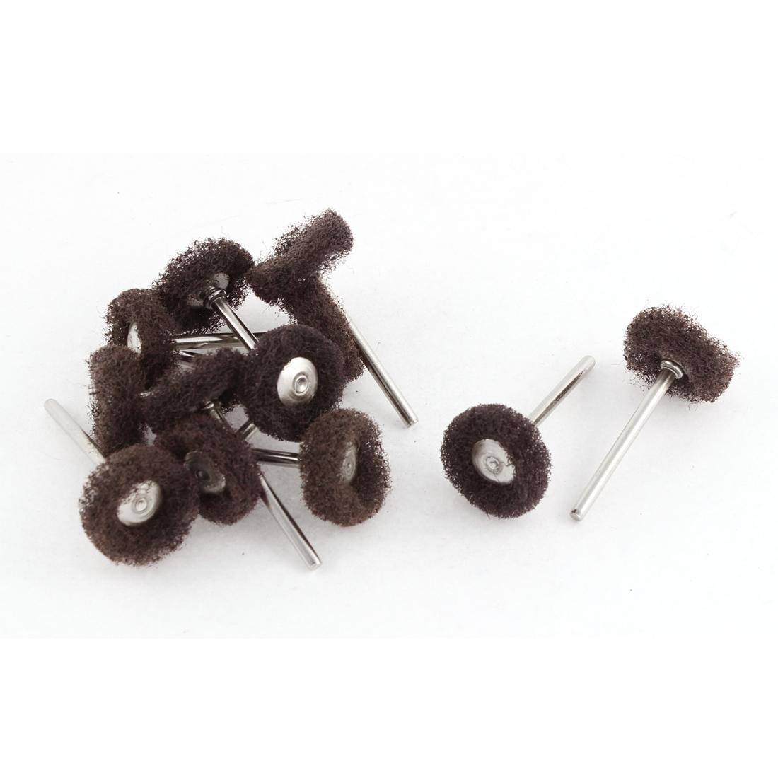 Brown Fiber Satin Finish Buffing Polishing Brush Wheels Jewelry Rotary Tool 12pcs