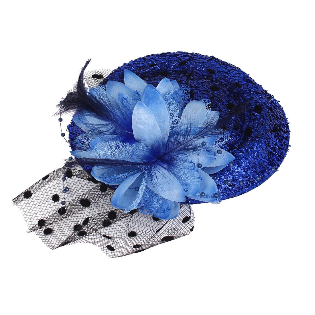 Lady Mesh Flower Detail Sequins Decor Mini Top Hat Clip Blue