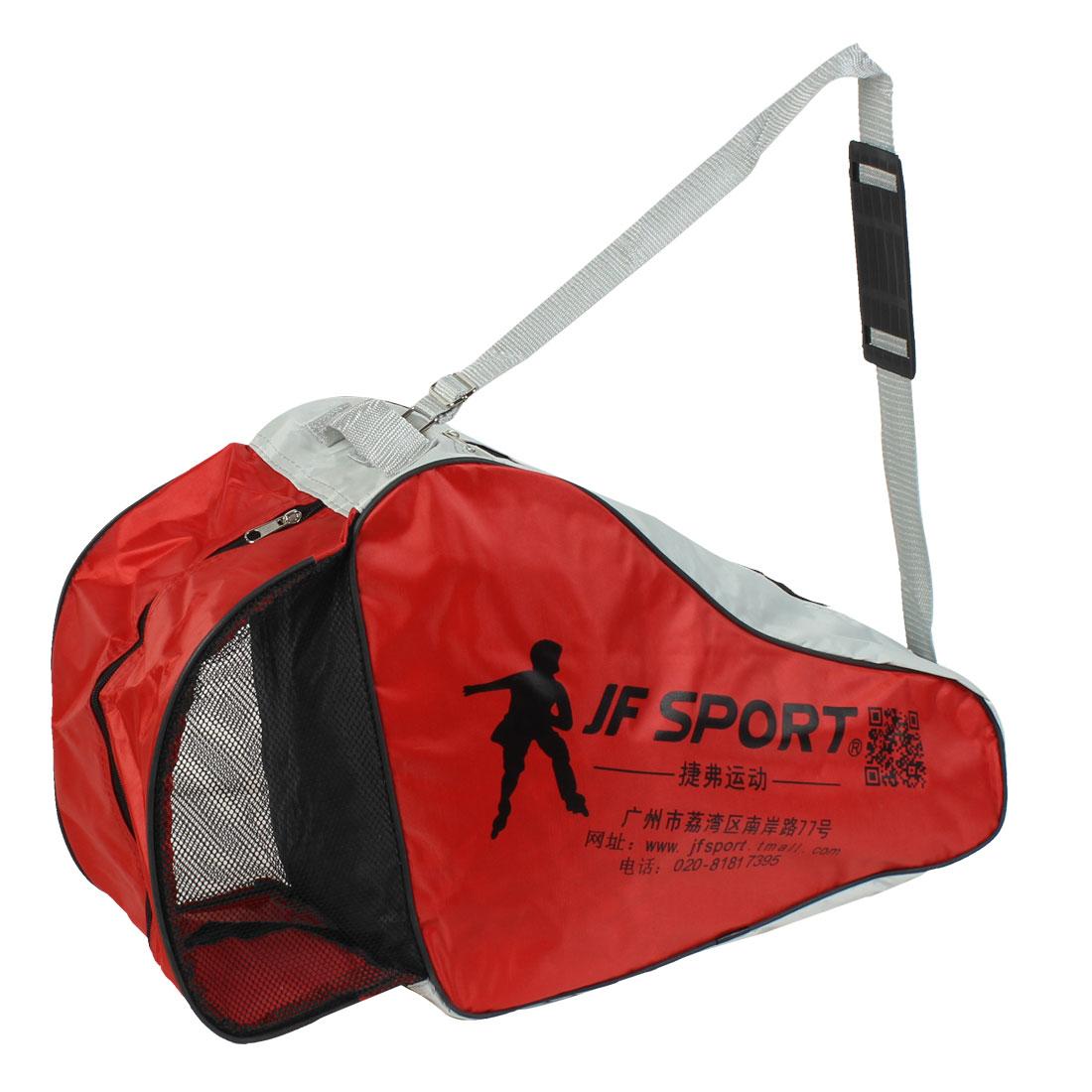 Nylon Portable Ice Skate Skating Strap Carry Bag Red Gray for Roller-blade Sport