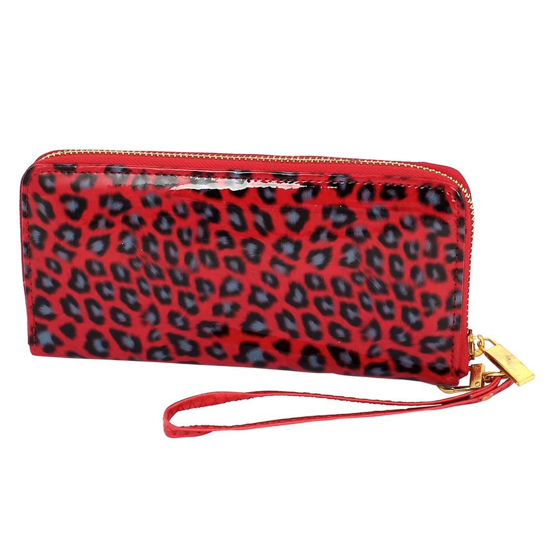 Lady Women Zippered Purse Wallet Leopard Pattern Bag Card Money Holder Red