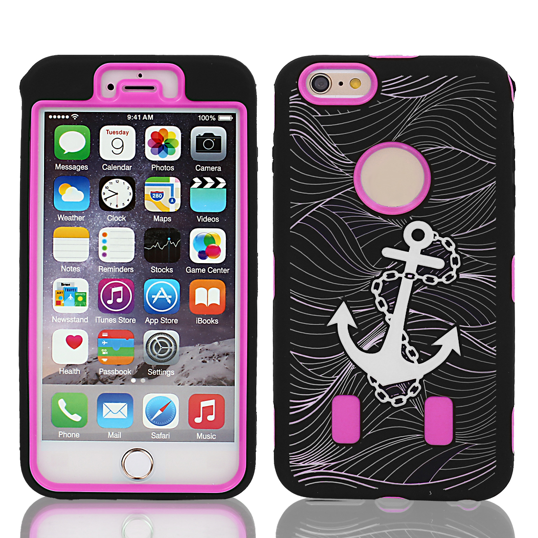 """Anchor Pattern Shockproof Rugged Cover Case Fuchsia Black for iPhone 6 Plus 5.5"""""""