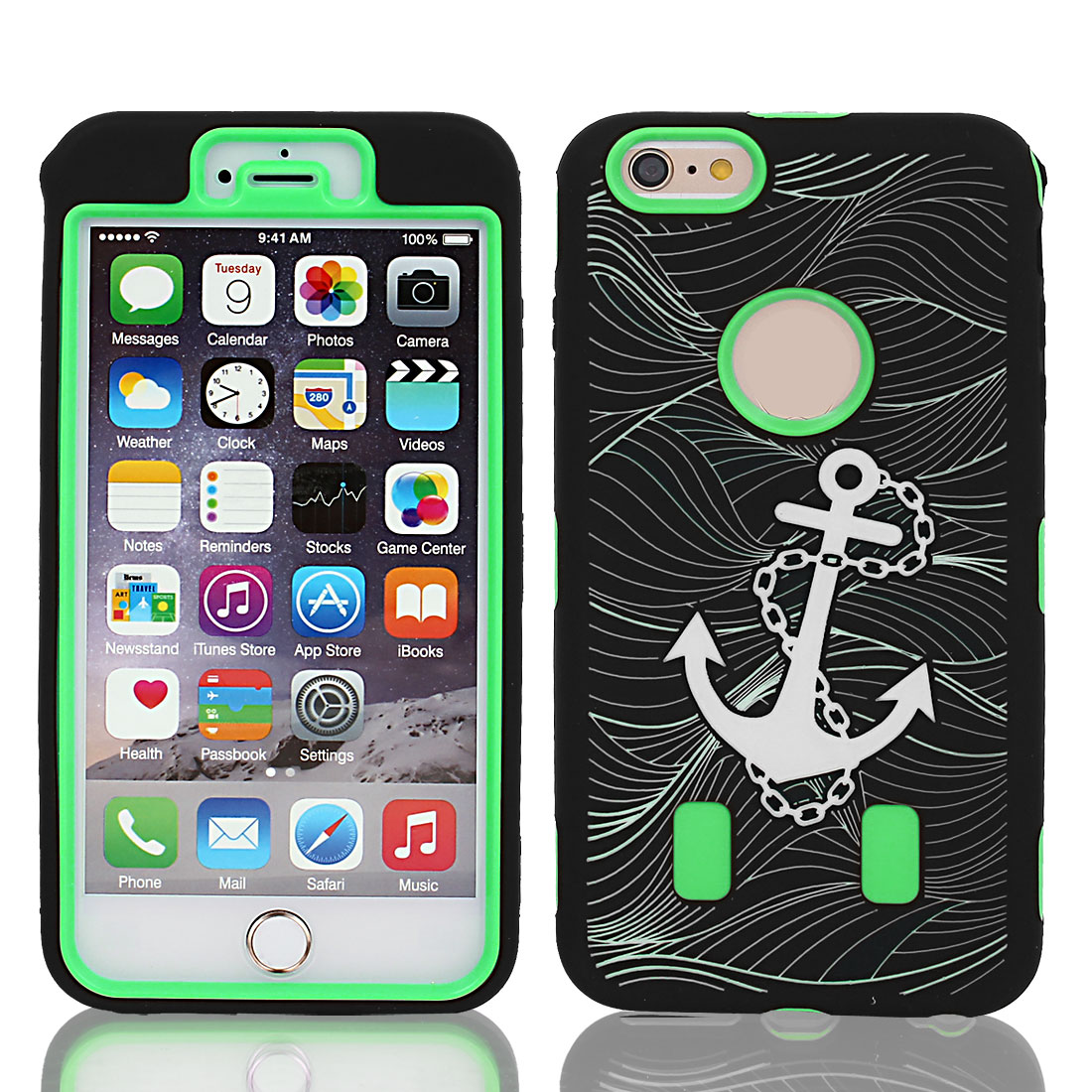 Anchor Pattern Shockproof Rugged Cover Case Green Black for iPhone 6 Plus 5.5""