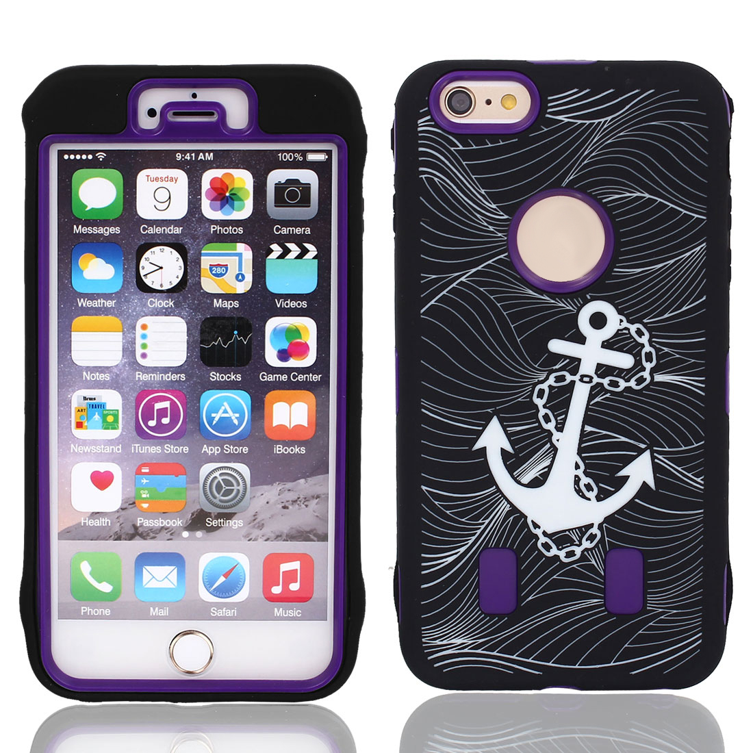 Anchor Pattern Shockproof Rugged Cover Case Purple Black for iPhone 6 Plus 5.5""