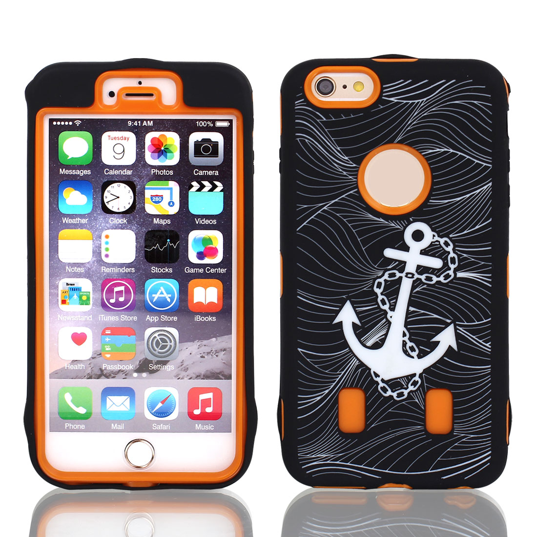 """Anchor Pattern Shockproof Rugged Cover Case Orange Black for iPhone 6 Plus 5.5"""""""