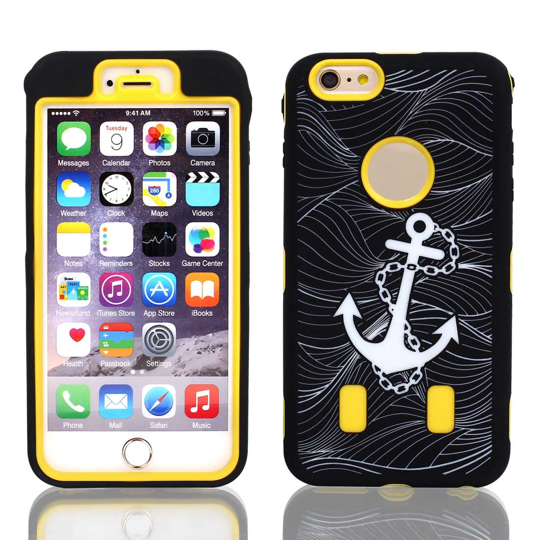 Anchor Pattern Shockproof Rugged Cover Case Yellow Black for iPhone 6 Plus 5.5""
