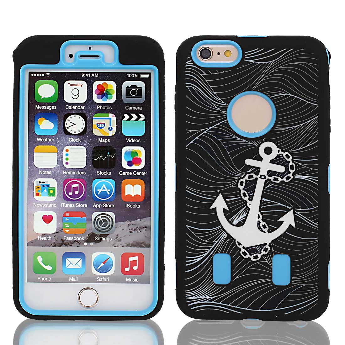 Anchor Pattern Shockproof Rugged Cover Case Blue Black for iPhone 6 Plus 5.5""