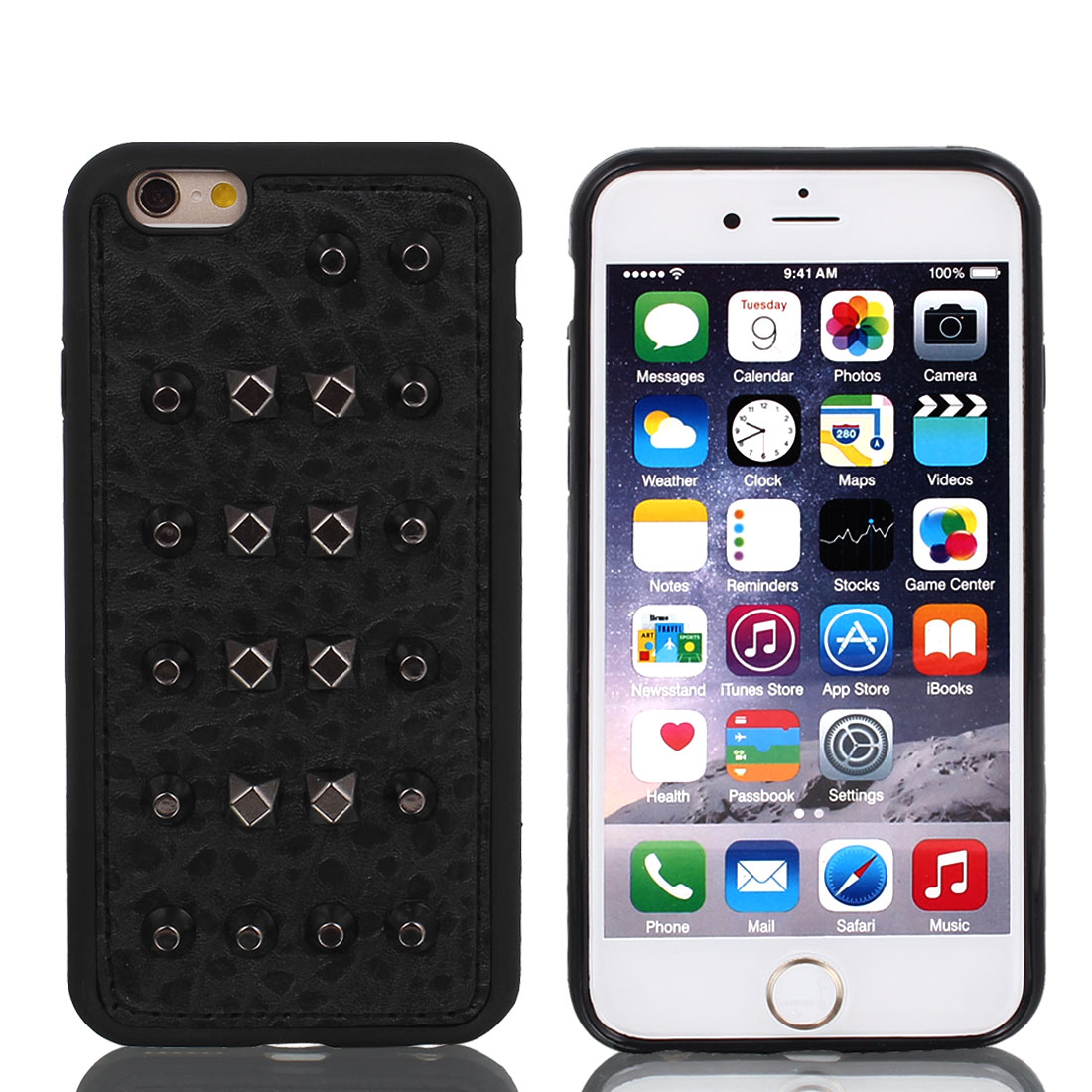 Faux Leather Protector Rugged Cover Case Black + Film for Apple iPhone 6 4.7""
