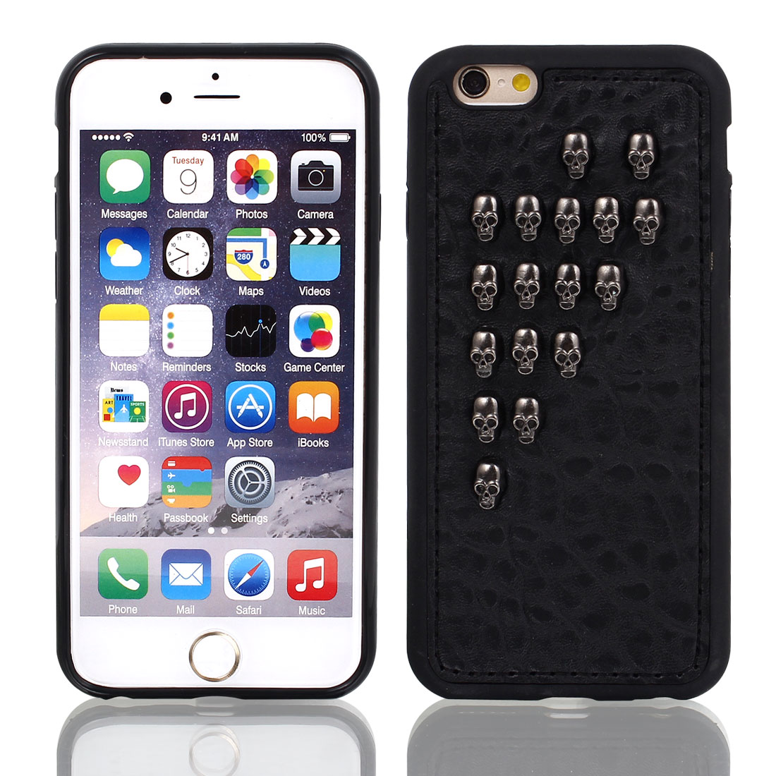 Faux Leather Protector Shell Skin Case Cover Black for Apple iPhone 6 4.7""