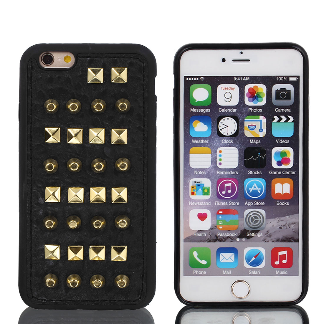 Faux Leather Rivet Protective Shell Case Cover Black w Film for iPhone 6 4.7""