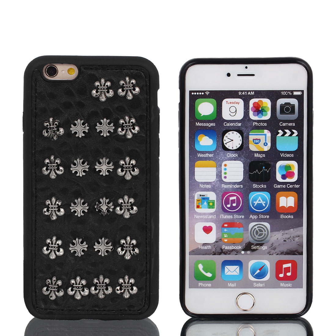 """Faux Leather Rivet Decor Protective Shell Case Cover Black for iPhone 6 4.7"""""""