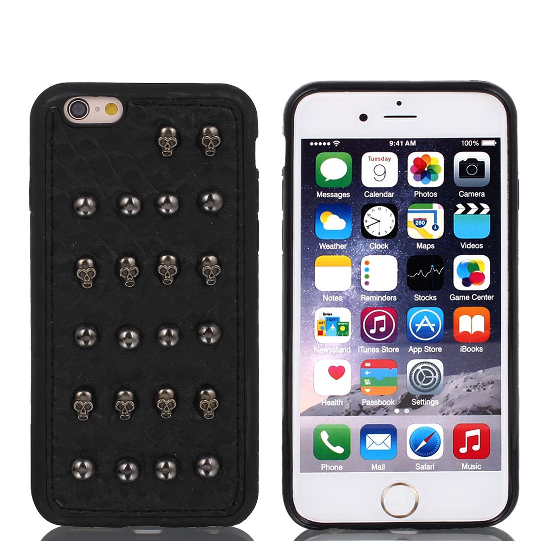 Faux Leather Shockproof Guard Shell Case Cover Black for Apple iPhone 6 4.7""