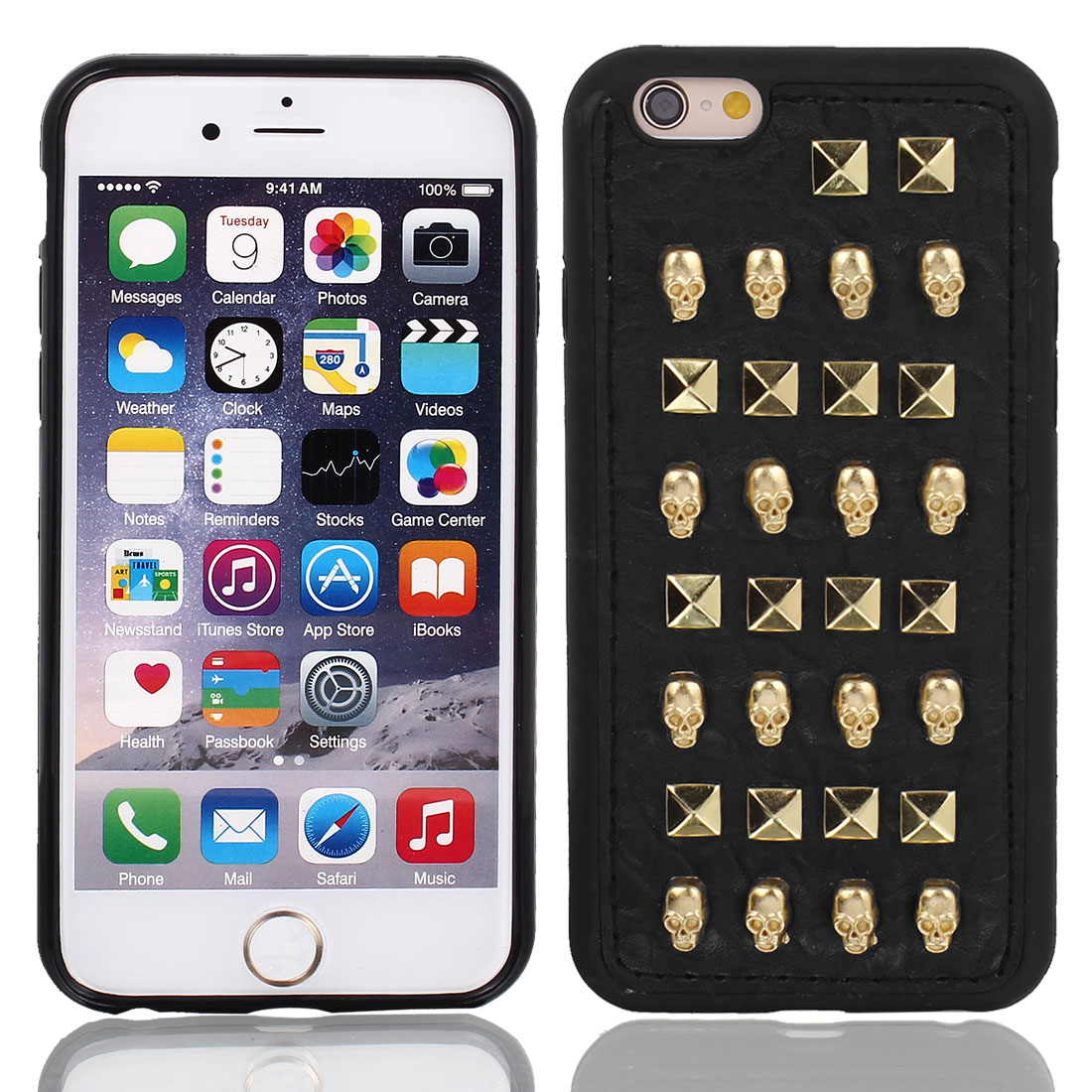 """Faux Leather Skin Case Cover Gold Tone w Protective Film for iPhone 6 4.7"""""""