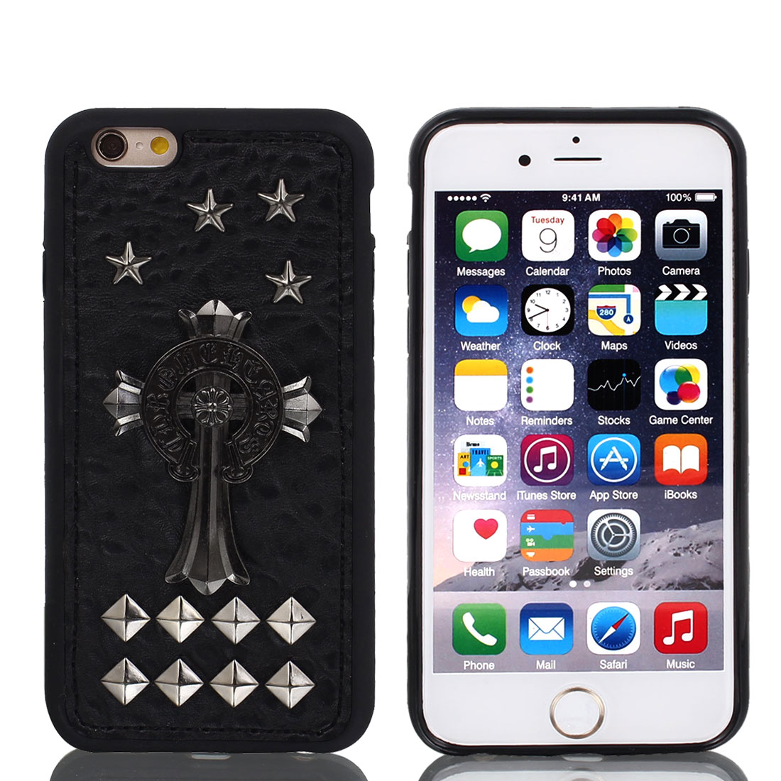 Faux Leather Rivet Decor Guard Case Shell Cover Black w Film for iPhone 6 4.7""