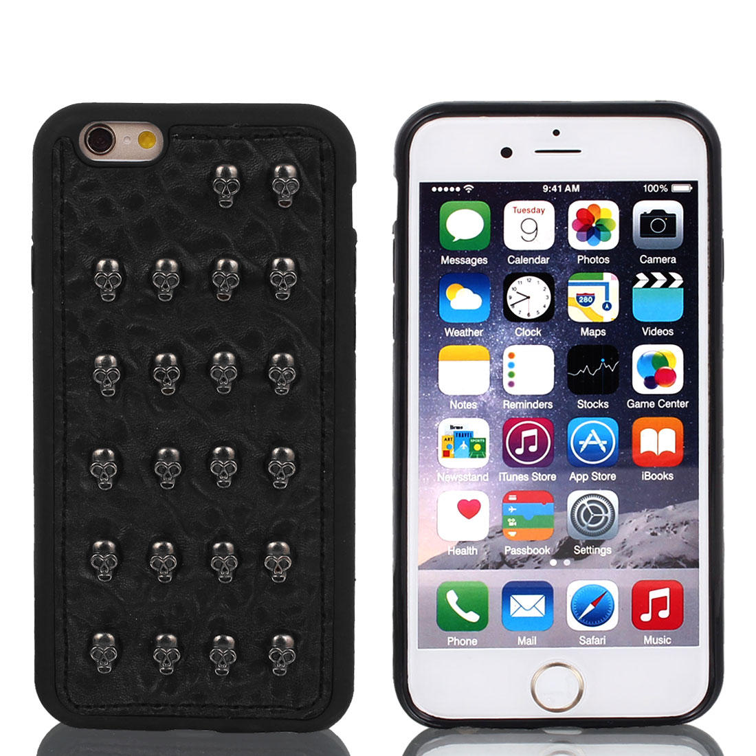 Faux Leather Rugged Protective Shell Case Cover Black w Film for iPhone 6 4.7""